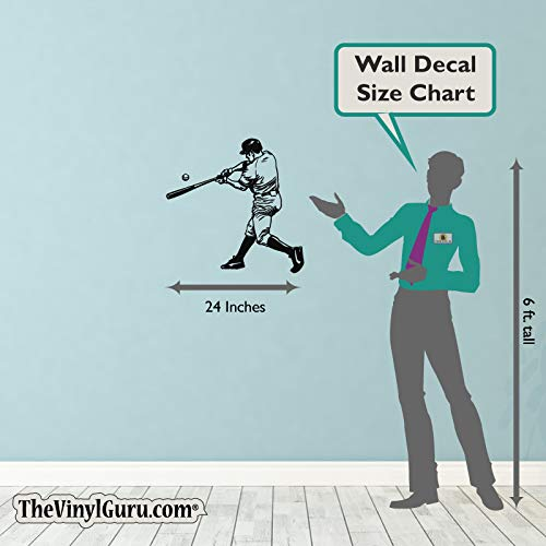 Amazon.com: TheVinylGuru - Baseball Wall Decal - Left Handed Batter Vinyl Art for Home Decor - Removable Giant Sticker - Sport Player Silhouette for Boys ...