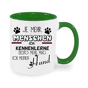 Crealuxe Je mehr Menschen ich kenne desto mehr mag ich Meinen Hund - Kaffeetasse mit Wunschname, Bedruckte Tasse mit…