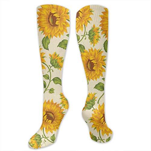 Fashion Mesh Ventilation Non-Slide Yellow Sunflowers Cushion Sole Hiker Crew Cushion Socks for Running Sports Football -