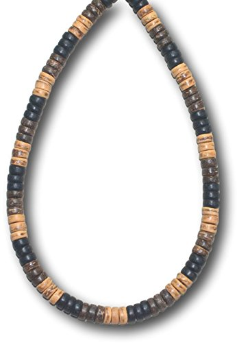 Native Treasure 20 inch Mens Black, Brown, and Tiger Coco Shell Bead Surfer Necklace 8mm (5/16