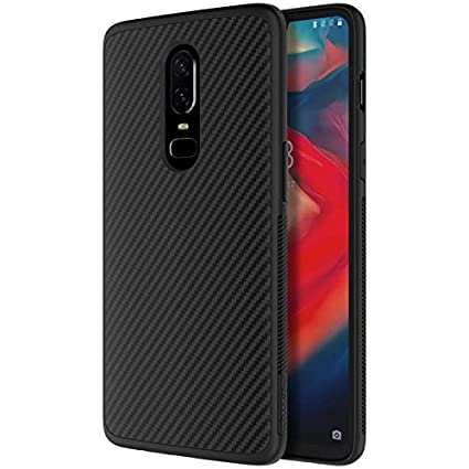buy online 45f9a f6bfa Nillkin Synthetic Fiber Carbon Material Clear Textured Unique Style Back  Case Cover for Oneplus 6 / One Plus 6 - Black