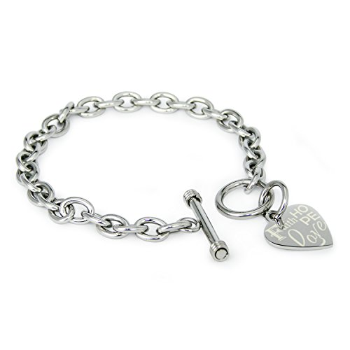 Stainless Steel Faith Love Hope Engraved Heart Tag Charm, Bracelet (Heart Tag Rolo Toggle Bracelet)