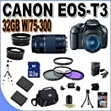 Cheap Canon EOS Rebel T3 12.2 MP CMOS Digital SLR with Canon 18-55mm IS II Lens and Canon 75-300 Lens (Black) + 58mm Wide Angle Lens (4 Lens Kit!!!) W/32GB SDHC Memory +2 Extra Batteries+AC/DC Charger +UV Filters+3 Piece Filter Kit+Case+Full Size Tripod+Accessory Kit !!