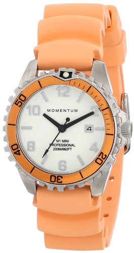 Women's Quartz Watch | M1 Mini by Momentum | Stainless Steel Watches for Women | Dive Watch with Japanese Movement & Analog Display | Water Resistant Ladies Watch with Date - White/Orange Rubber