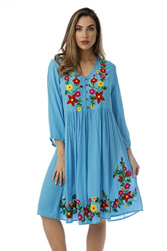 Riviera Button Sleeve Waist Floral Turquoise Empire 4 Sun Front Dress Embroidered 3 gwgFrYq