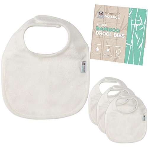 Bamboo Terry Drool Bibs. Waterproof 4-Piece Set For Baby by Wonderful Walrus. Natural - Simple - Classic. 2 Reversible, Ultra Soft & Absorbent Layers. In White for Ideal Unisex Gift or to Decorate. by Wonderful Walrus