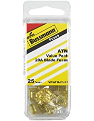 Bussmann (VP/ATM-20-RP) Yellow 20 Amp Fast Acting ATM Mini Fuse, (Pack of 25)
