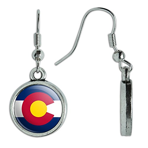(Novelty Dangling Drop Charm Earrings State Flag - Colorado State Flag)
