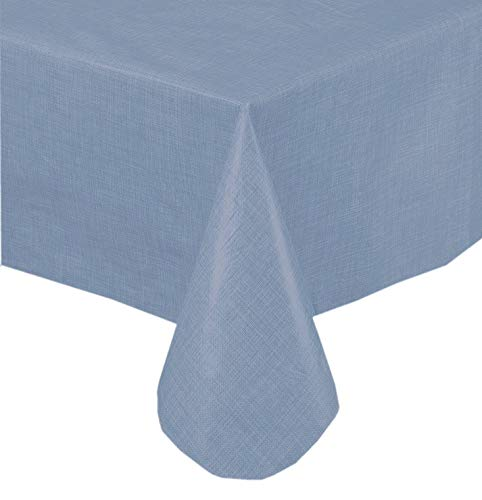Premium Solid Color Vinyl Flannel Backed Tablecloth 52 x 70 Inch Oblong - Slate Blue ()