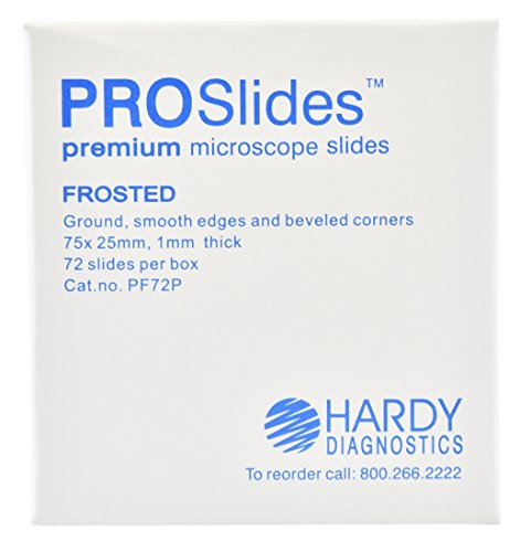 Frosted Slides - ProSlide Microscope Slides, Frosted, Premium, 3x1 Inches x 1mm, 72 per Box, by Hardy Diagnostics