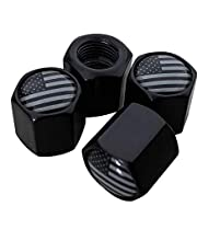 Tactilian American Flag Valve Stem Cap - Black Subdued USA Aluminum with Rubber Ring Tire Wheel Rim Dust Cover fits Cars, Trucks, Bikes, Motorcycles, Bicycles - (4 Pack)