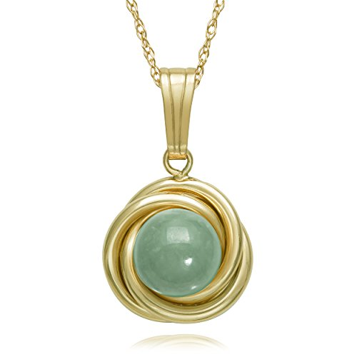 14K Yellow Gold Love Knot Natural Green Jade Pendant Necklace,18