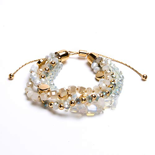 Bivei Bohemian Versatile Multi-Layer Bead Statement Bracelet - Stretch Strand Stackable Cuff Bangle Set Faceted Acrylic Druzy Sparkly Crystal(Adjustable Ivory)