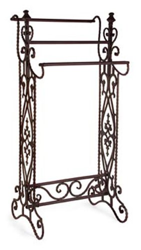 Wrought Iron Stand (IMAX 7781 Narrow Quilt Rack – Three Bar Wrought Iron Stand, Floor Display Stand for Living Room, Bathroom, Compact Towel Rail. Home Decor Accessories)