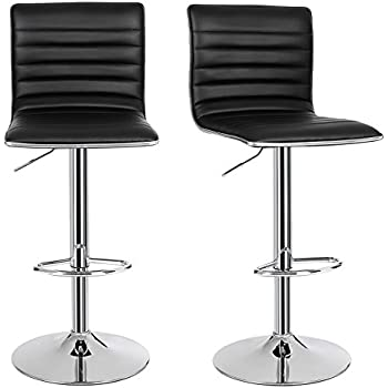 Wonderful SONGMICS 2 X Breakfast Bar Stools With Backs Faux Leather Kitchen Stools  360° Swivel Black