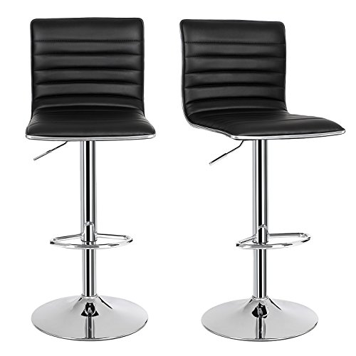 SONGMICS 2 x Breakfast Bar Stools with Backs Faux Leather Kitchen Stools 360° Swivel Black ULJB65B (Breakfast Stool)