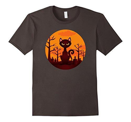 Mens Graveyard Black Scary Cat Halloween T-Shirt Simple Cool Tees Small Asphalt