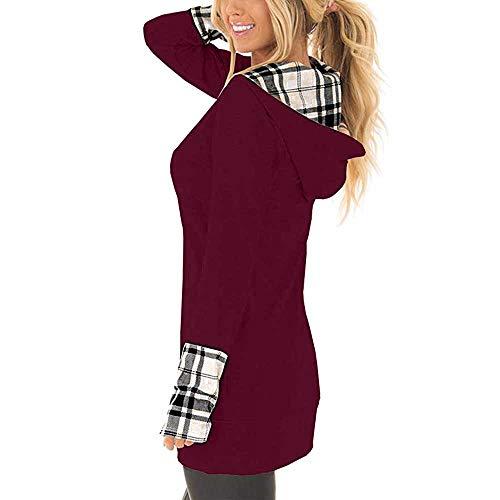 Maglione Manica Da Yusealia Donna Camicetta Fitness Lunga Rosso A Camicia Stampa Magliette Felpa Elegante Maglia Tops Felpe Poliestere Ragazza Di Pullover Reticolo q5YRp5