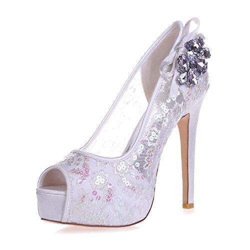 L@YC 3128-35 Frauen High Heels Strass Spitze Peeking Toe Pump Gericht Braut Satin Schuhe White