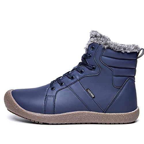 Cior Mens Snö Stövlar Snörning Fotled Sneakers Höga Topp Vinterskor Med Pälsfoder Blå