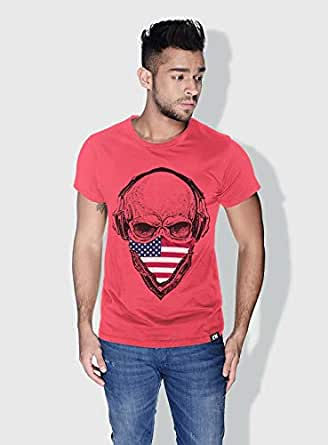 Creo Usa Skull T-Shirts For Men - S, Pink
