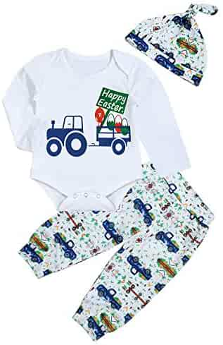 008c7e420 My First Easter Newborn Baby Boy Girl Outfit Happy Easter Romper Top+ Bunny  Egg Car Pant