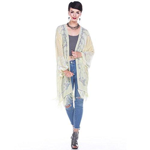 Aris A Women 100% Silk Velvet Mixed Filigree Print Kimono by Aris A