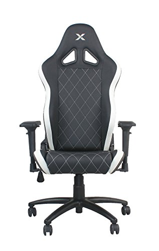 Ferrino Line White on Black Diamond Patterned Gaming and Lifestyle Chair by RapidX