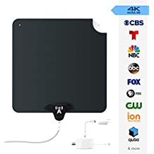 NoCable 50 - Indoor Amplified HDTV Antenna | 30-50 Mile Range, 12 Foot Cable, Free TV for Life, Reversible and Ultra-Flat, Digital Antenna & Signal Boosting Amplifier. Easy Install