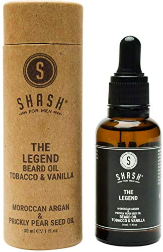 SHASH Legend Beard Oil, Tobacco and Vanilla (30ml) - All-Natural Formula Supports Faster, Healthier Growth - Hydrates Dry Skin and Hair, Reduces Itchy Discomfort - Paraben, Silicone and Sulfate-Free