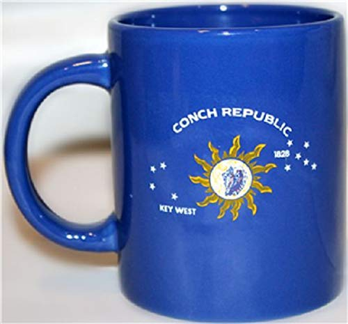 ALBATROS 12oz Key West Conch Republic Cermaic Mug with 12 in x 18 in Key West Flag for Home and Parades, Official Party, All Weather Indoors Outdoors -
