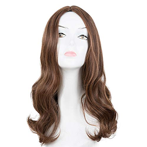 Wig Synthetic Heat Resistant Medium Dark Brown Middle Part Line Curly Hair Costume Cosplay Halloween Hairpiece,1B/30Hl,18inches]()