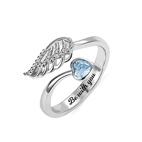 Getname Necklace Personalized Forever by My Side Angel Wing Ring Sterling Silver 925 for Her Wedding Band Ring Engagement ()
