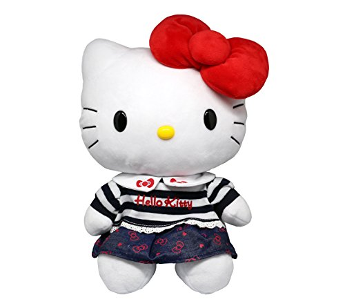 Hello Kitty Plush Toy Red Bow Classic School Denim & Striped Outfit 8