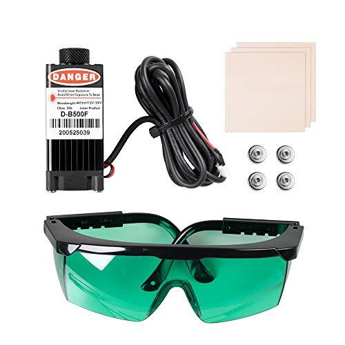 Sovol 3D 500mW Laser Module, 12-24V Engraving Laser Head Kits Magnetic Design with Goggles, Test Wooden Boards for SV01…
