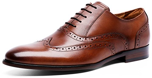 Men's Leather Dress Shoes Brogue Perforated Wing-Tip Oxford (8 M US, Brown)