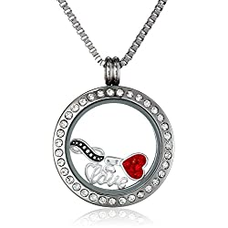"Charmed Lockets Infinite Love Pendant Necklace with ""Love"" Floating Charm Set, 24"""