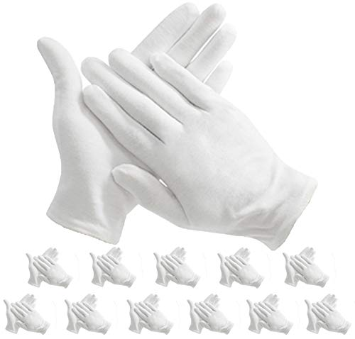 (Maydahui 12 pair White Cotton Gloves for Cosmetic Moisturizing Coin Jewelry Inspection performance driving watch repair work/lining - Extra Large Size 9.4 inch, (Pack of 12))