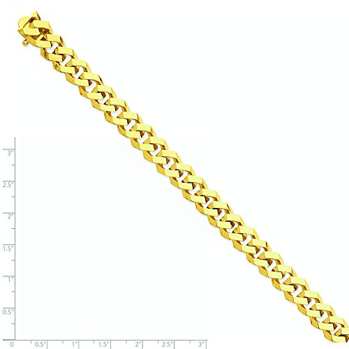 Or 14 ct 10 mm Poli à la main Fancy - Bracelet Femme - Lien Chaîne homard griffe - Longueur Options : 20 23