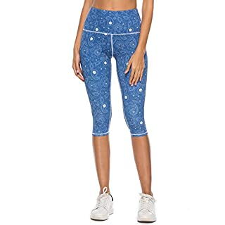 Mint Lilac Women's High Waist Workout Printed Yoga Leggings Athletic Capri Tummy Control Running Pants Small