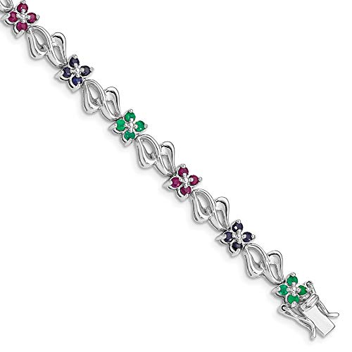 - 925 Sterling Silver Sapphire Red Ruby Green Emerald Bracelet 7.25 Inch Gemstone Fine Jewelry Gifts For Women For Her