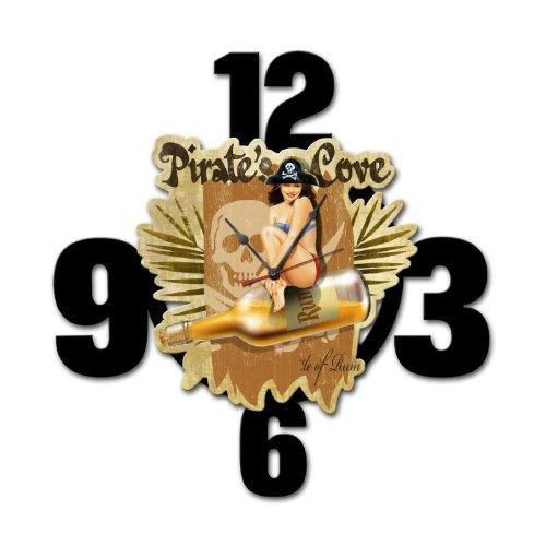 Pirates Cove Layered Clock Metal Sign Wall Decor 24 x 24 (Cove Pirates Sign)