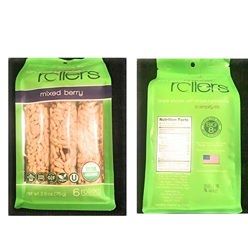 CRUNCHY ROLLERS Organic Mixed Berry Rice Rollers 6 Count, 2.6 OZ