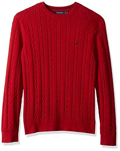Nautica Men's Allover Multi-Cable Crewneck Sweater, red, Large (Nautica Sweater Men)