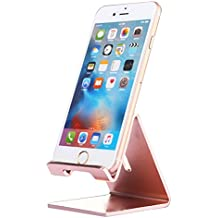 iPhone Stand, iBarbe Cell Phone Stand, Aluminum Holder,Android Smartphone, Mobile Phone iPhone X,iPhone 8 6S,Samsung Mobile Phone, iPhone 7 Plus 5S 6 SE 5C,Galaxy S9 S7 Edge S8 etc. Charging-rosegold