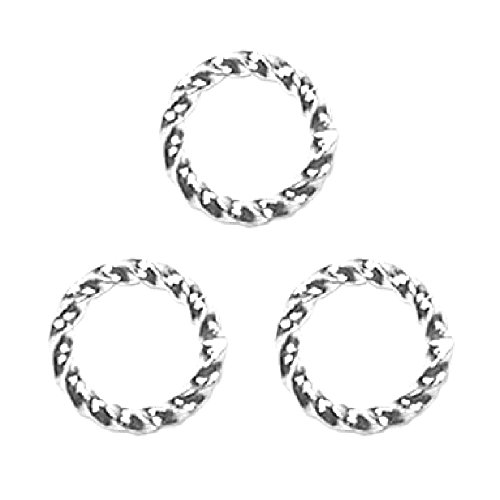 FANCY TWIST JUMP RINGS 16 gauge 50pcs Silver Plated 8mm