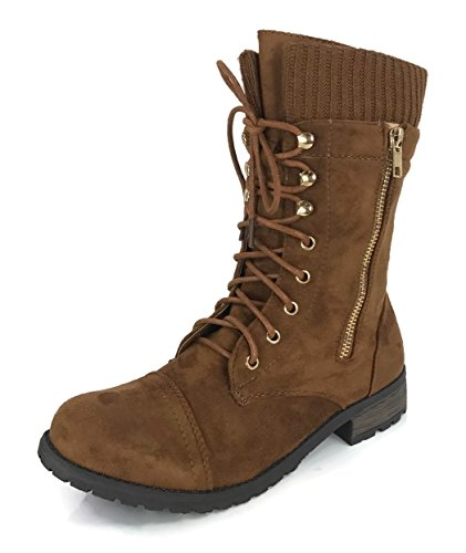 (Forever Link Women's Sweater Cuff Combat Boot Lace Up Round Toe Flat Heel Combat, Tan-81,)