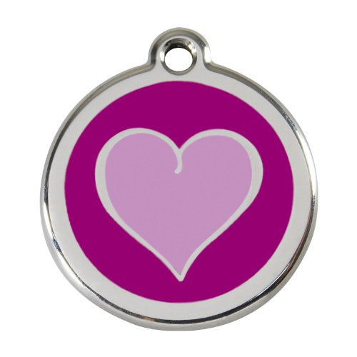(Red Dingo Custom Engraved Stainless Steel and Enamel Dog ID Tag - Two Tone Heart (Purple, Small))