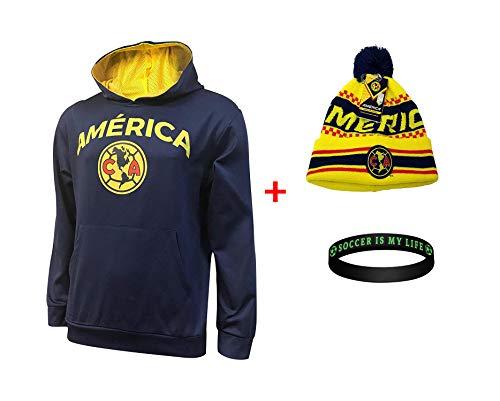 Club America Jacket Hoodie Hood Sweater Sweatshirt Soccer Beanie and Wristband Set 3 Amer 0010 (Navy, M) ()