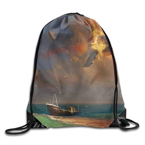 Flying Fantasy Art Whales Fantasy Gym Drawstring Backpack Un